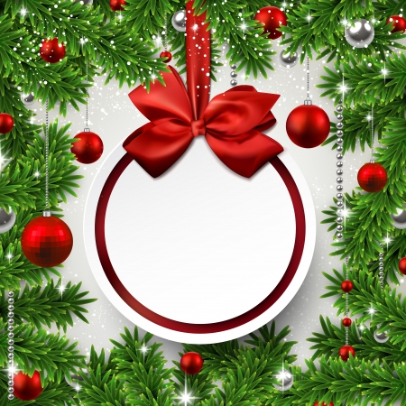 Christmas frame background with fir twigs and red balls. Round paper label on gift bow. Vector illustration.  Vector