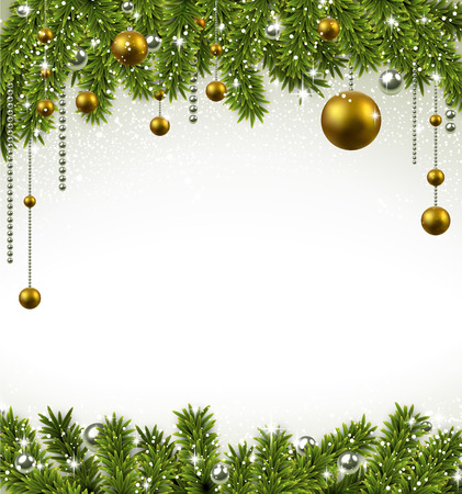 Christmas frame background with fir twigs and golden balls. Vector illustration.  Vector