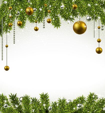 Weihnachten Frame Hintergrund mit Tannenzweigen und goldenen Kugeln. Vektor-Illustration. Standard-Bild - 24373991