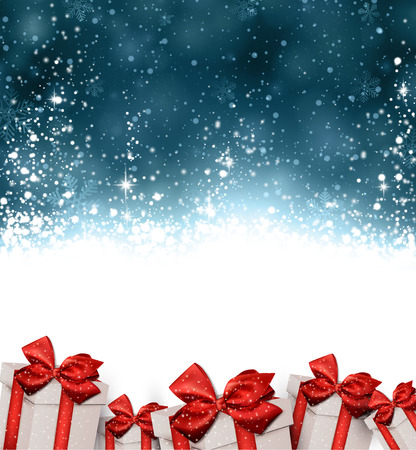bowknot: Dark blue winter abstract background. Christmas background with gift boxes. Vector.
