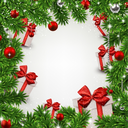 Christmas frame background with fir twigs and gift boxes. Vector illustration.  Vector