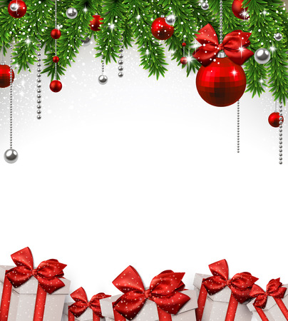 Christmas background with fir twigs and red balls. Vector gift boxes.  Vector
