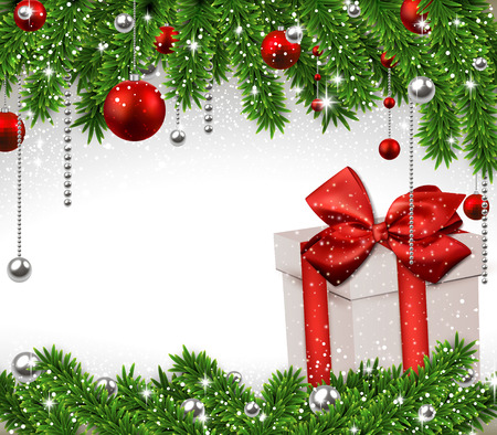 Christmas background with fir twigs, red balls and gif box. Vector gift boxes.