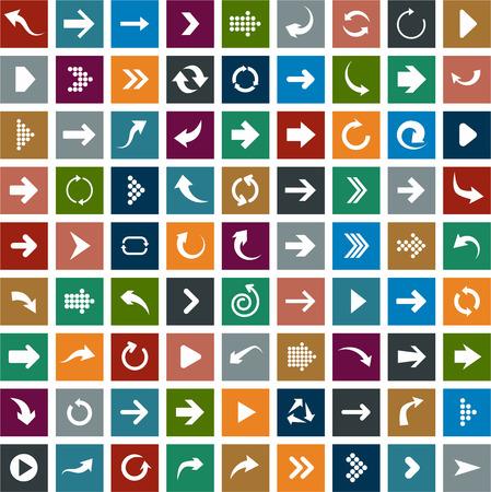 left arrow: Vector illustration of plain square arrow icons. Flat design.