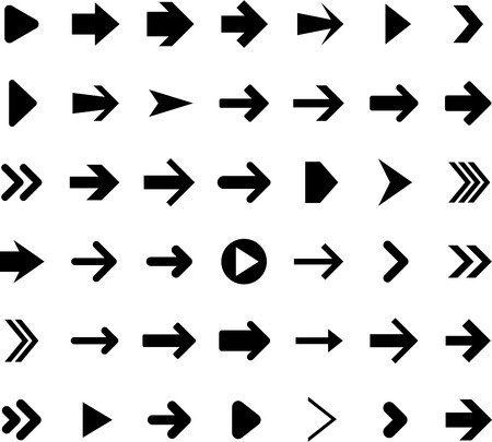 Vector illustration of right arrow icons.  Vector