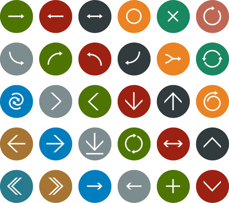 flat panel: Vector illustration of plain round arrow icons. Flat design.
