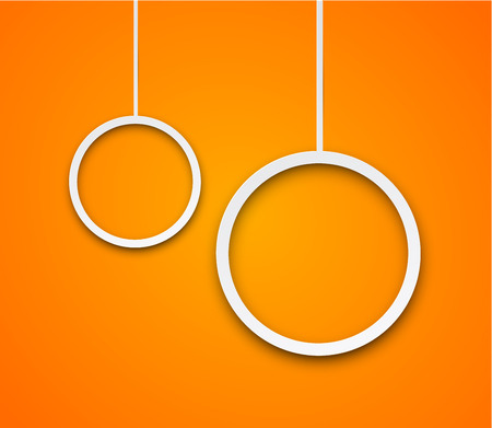 background orange: Vector abstract illustration of white paper speech bubbles on orange background.