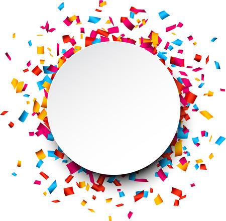 Fundo colorido celebração com confete. Ilustração vetorial.