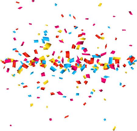 紙吹雪のカラフルなお祝いの背景。ベクトル イラスト。