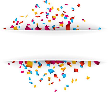 Colorful celebration background with confetti. Vector Illustration.