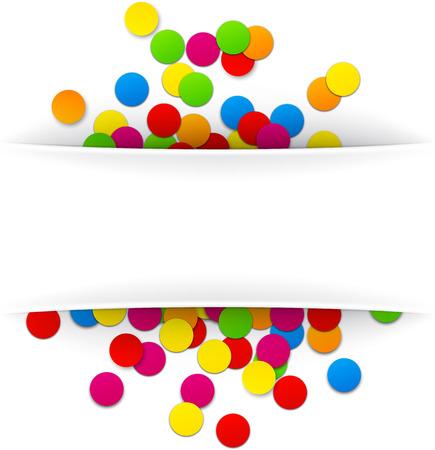 birthday frame: Colorful celebration background with confetti. Vector Illustration. Illustration