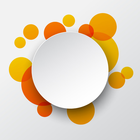 Vector illustration of white paper round speech bubble over orange background.  Vector