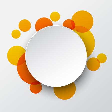Vector illustration of white paper round speech bubble over orange background.  Vector
