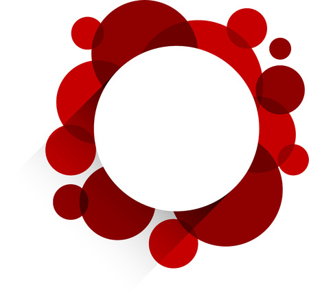 Vector illustration of white paper round speech bubble over red background. Eps10.  Vector