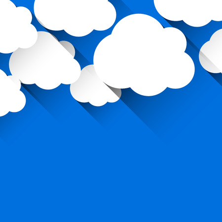 Vector abstract background composed of white flat paper clouds over blue. Eps10. Vector
