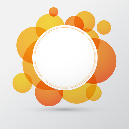 Vector illustration of white paper round speech bubble over orange background. Eps10. Vector