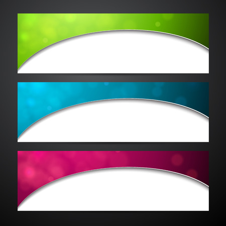 Paper wavy blank colorful banners. Vector illustration.  Vector