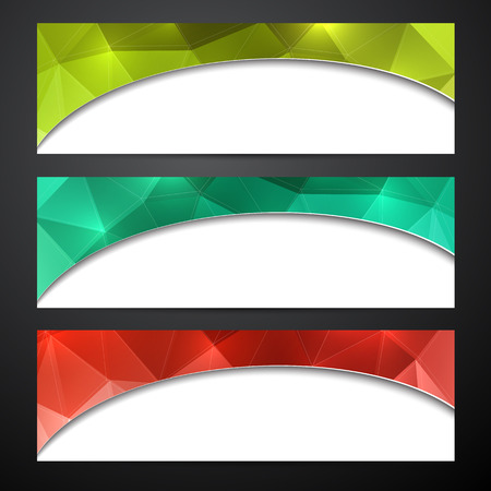 Paper wavy blank polygonal colorful banners. Vector illustration.  Vector