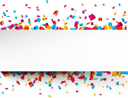 Fond coloré célébration avec des confettis. Vector Illustration.
