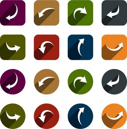 arrow icons: Vector illustration of plain arrow icons. Flat design.