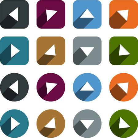 Vector illustration of plain arrow icons. Flat design.  Vector
