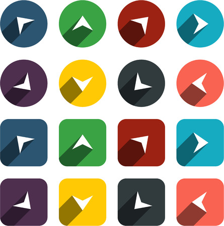 arrowheads: Vector illustration of plain arrow icons. Flat design.