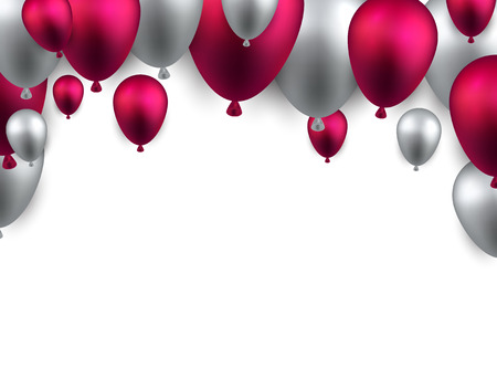 Celebration arch background with pink balloons. Vector illustration.  Vector
