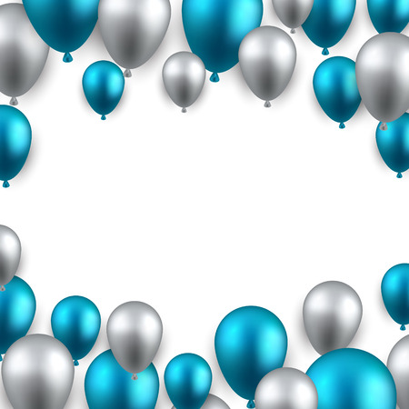Celebration frame background with blue balloons. Vector illustration.