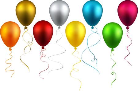 Balloon: Đặt bóng bay thực tế đầy màu sắc. Vector hình minh họa.