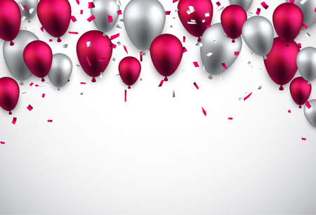 Celebración de fondo con globos de colores y confeti. Ilustración del vector.