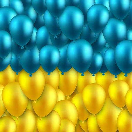 eastern europe: Ukrainian colorful flag with balloons and confetti. Vector illustration.