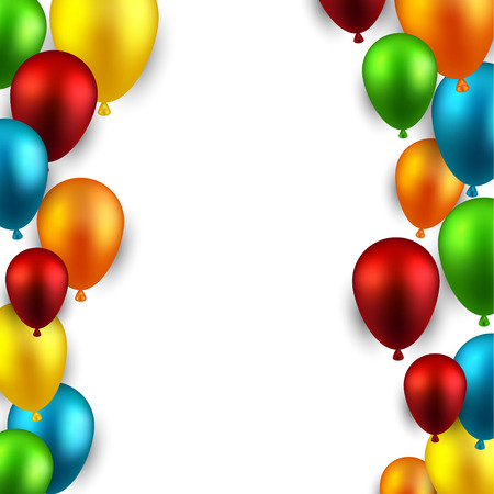 flying balloon: Celebration frame background with colorful balloons. Vector illustration.  Illustration