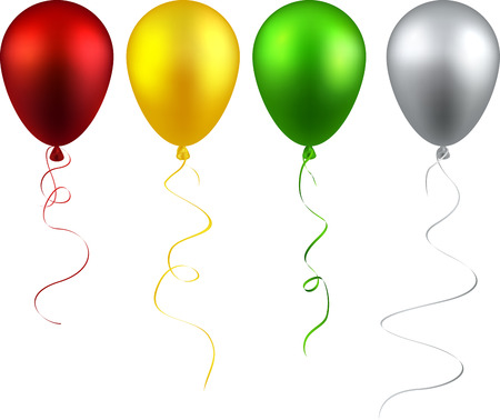 green balloons: Set of colorful realistic balloons. Vector illustration.