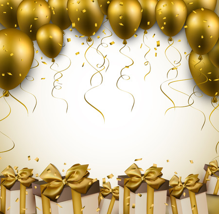 Celebration golden background with balloons and confetti. Vector illustration.