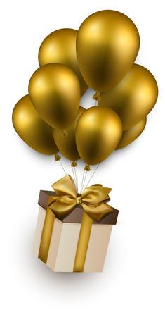 Caja de regalo con lazo de oro volando en globos. Celebración de fondo. Ilustración del vector. Foto de archivo - 28524024