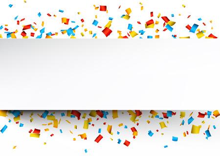 祝賀会: 紙吹雪のカラフルなお祝いの背景。ベクトル イラスト。