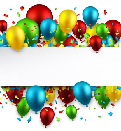 Празднование красочный фон с воздушными шарами и конфетти. Векторная иллюстрация.