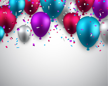 silver:  Celebration background with colorful balloons and confetti. Vector illustration.