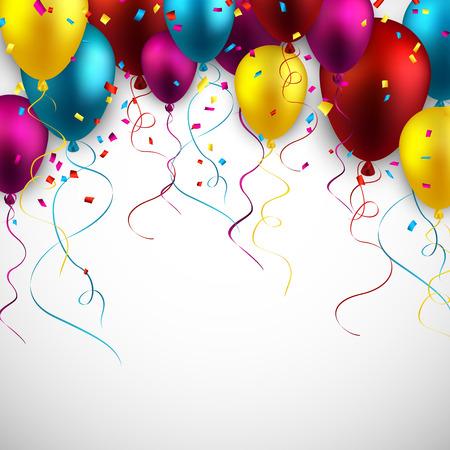 Celebración de fondo colorido con globos y confeti. Ilustración del vector. Ilustración de vector