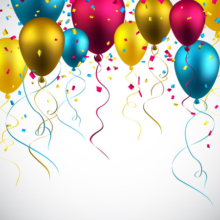 Celebration colorful background with balloons and confetti. Vector illustration.  Vector