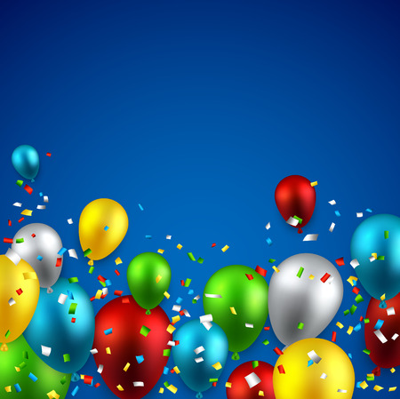 surprise party: Celebration background with colorful balloons and confetti. Vector illustration.