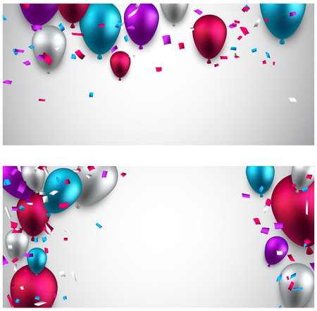 Celebration banners with colorful balloons and confetti. Vector illustration.  Vector