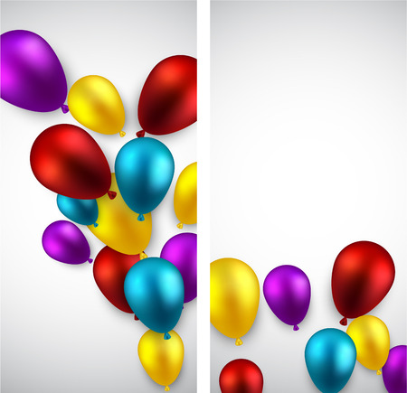 Celebration banners with colorful balloons. Vector illustration.   Vector