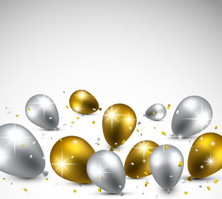 黄金と銀の風船でお祝いの背景。ベクトル イラスト。