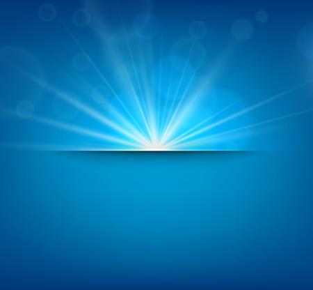 lens flare: Blue abstract sfondo sfocato con obiettivo chiarore del sole. Illustrazione vettoriale.