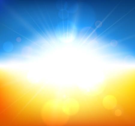 푸른 하늘 흐린 배경 오렌지 필드입니다. 벡터 일러스트 레이 션.