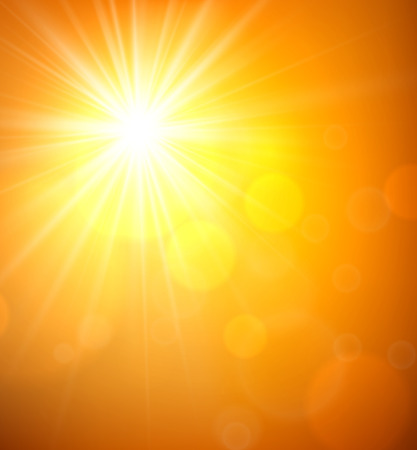 solar flare: Orange sky blurry background with sun. Vector illustration.