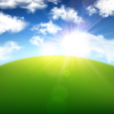 field and sky: Green field with blue sky and clouds background. Vector illustration.