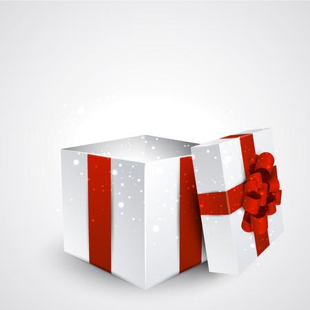 Aperto 3d regalo realistico con fiocco rosso. Illustrazione vettoriale. Archivio Fotografico - 30644689