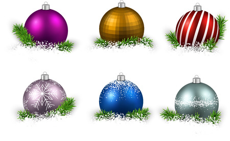Colorful set of realistic christmas balls on snow with fir branches. Vector illustration.  Vector